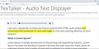 TexTalker - Adui Text Displayer Javascript
