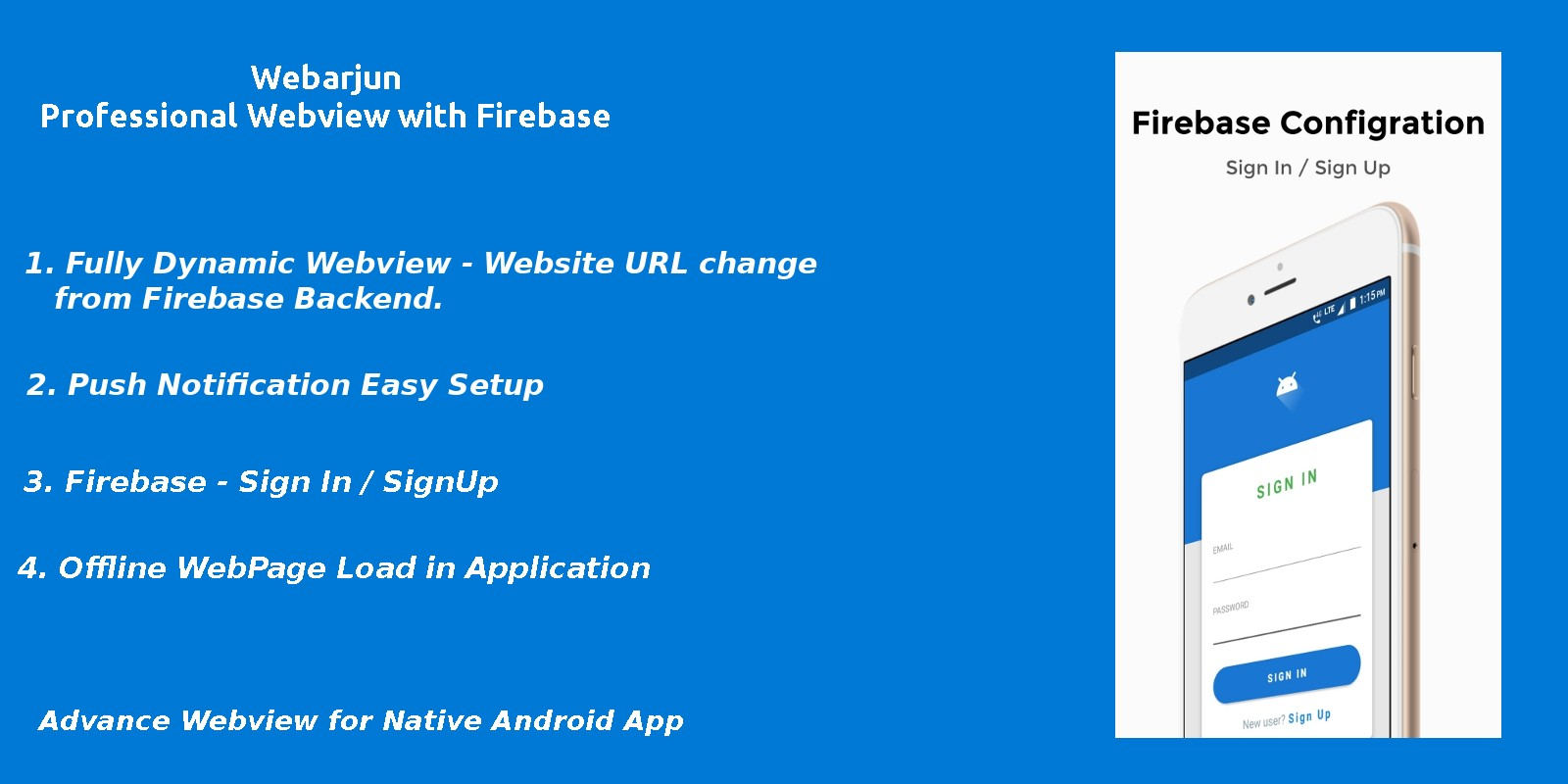 Webarjun - Android Webview App With Firebase Backe