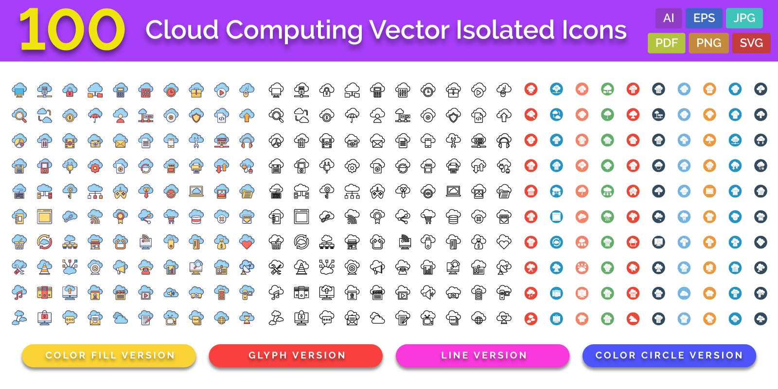 100 Cloud Computing Vector Isolated Icons Pack