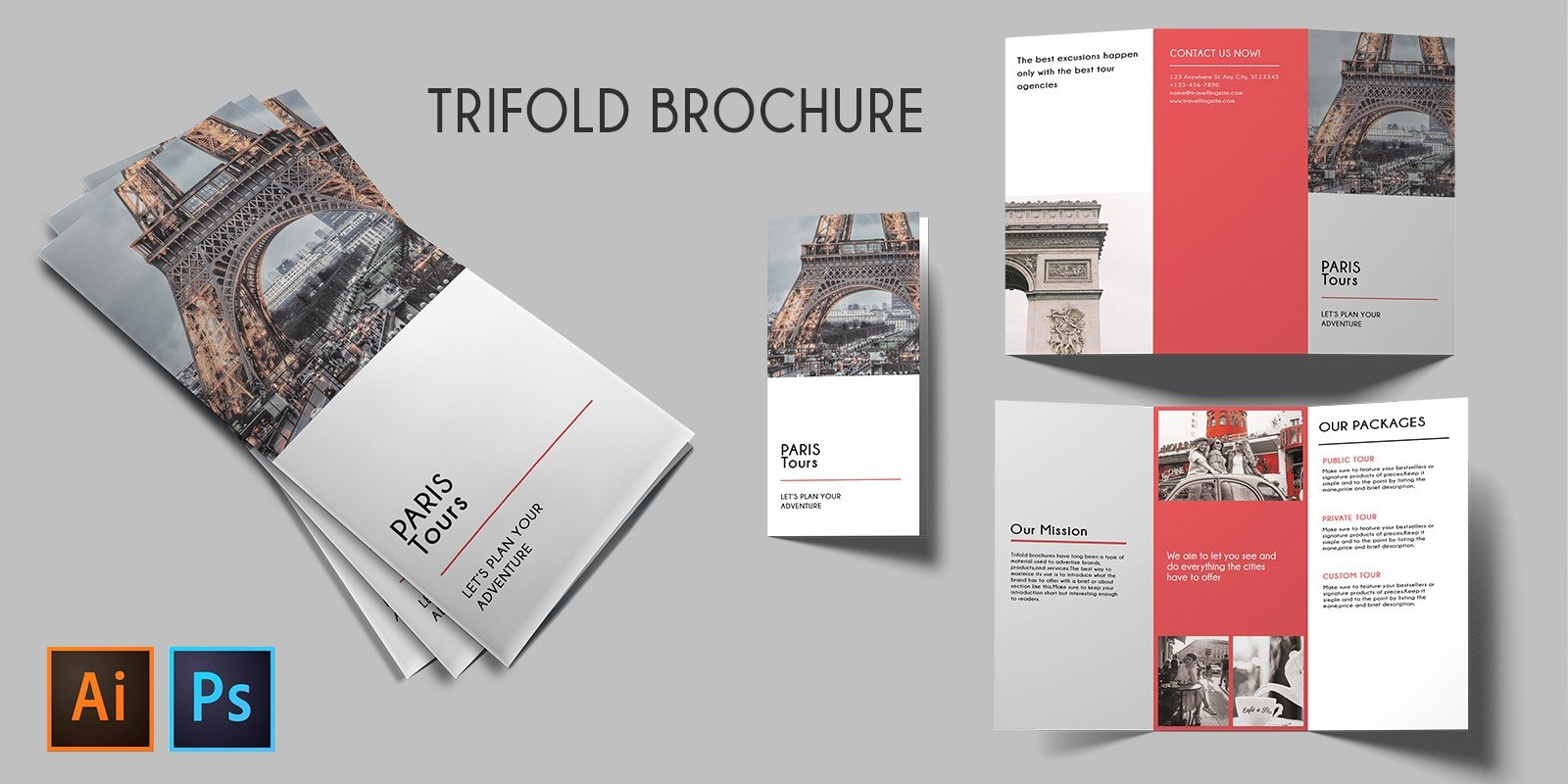 Trifold Agency Travel Brochure Template