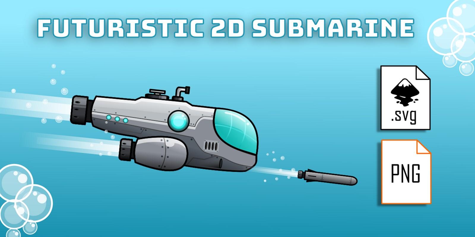 Futuristic Submarine 2D Game Sprites