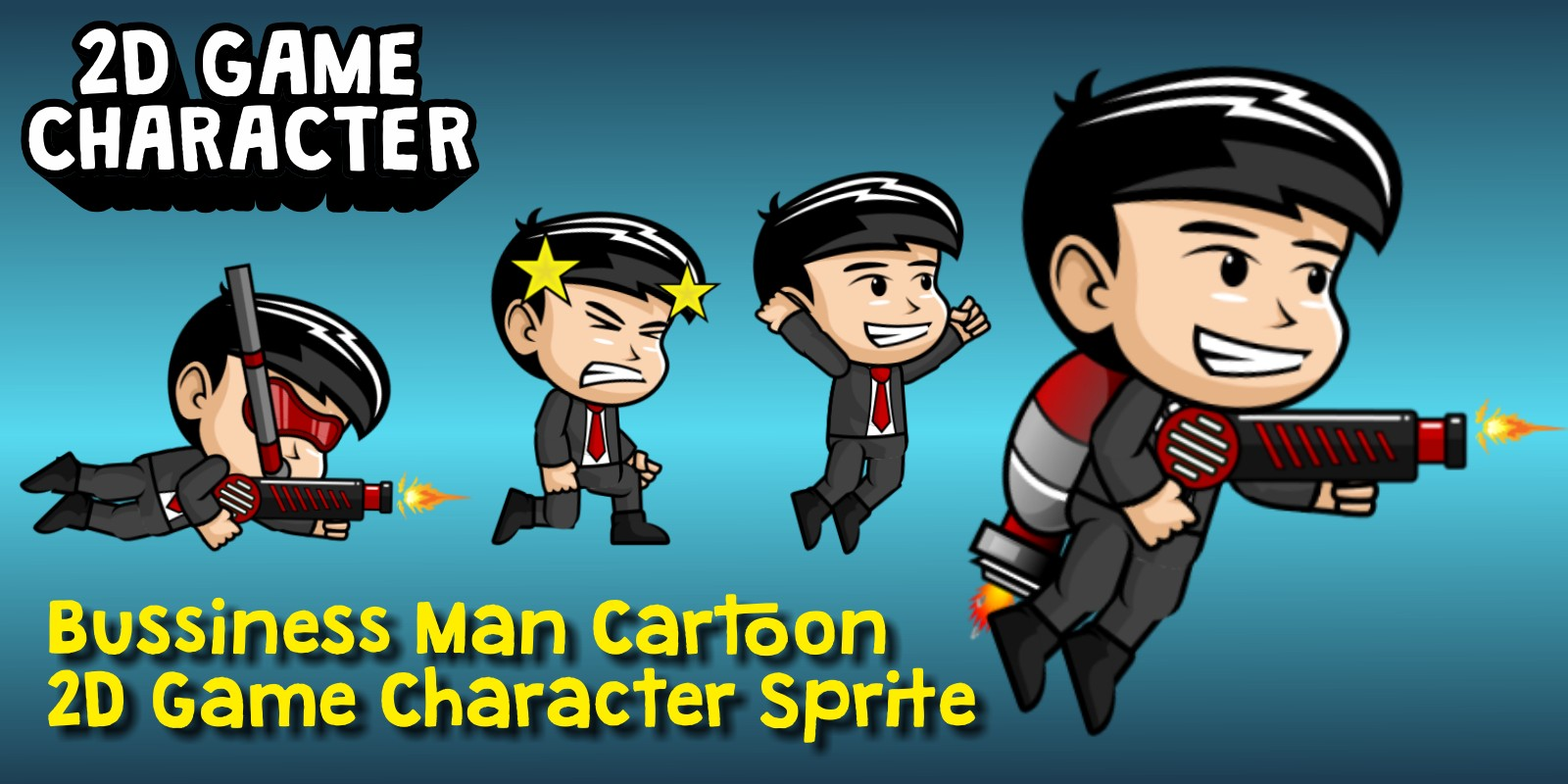 Bussiness Man Cartoon 2D Game Character Sprite