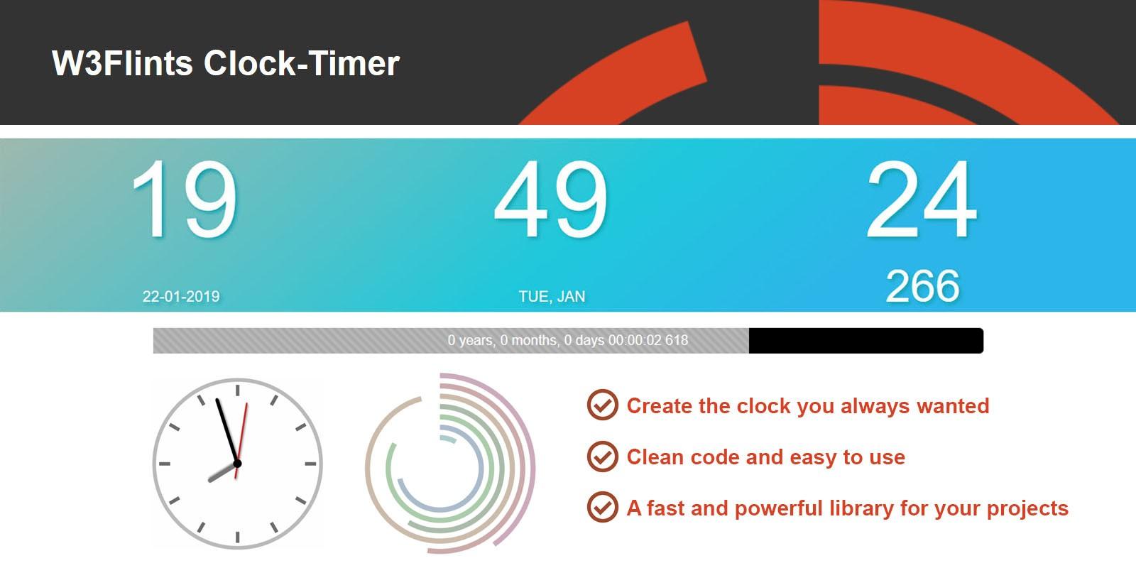 W3Flints Clock Timer JavaScript