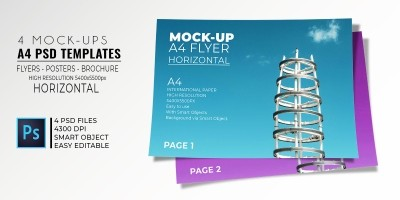 4 Horizontal Mock-Up Flyer PSD Templates A4