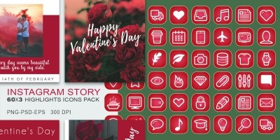 60 Valentines Day Insta-Story Icons Set