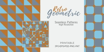 16 Retro Geometric Seamless Tile Patterns - RGB