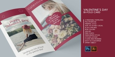 Bifold Valentine Wishes Card - 4 Templates