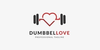 Dumbell Love Logo Template