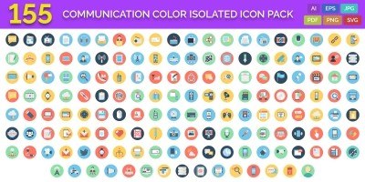 155 Communication Color Isolated Vector icon Pack