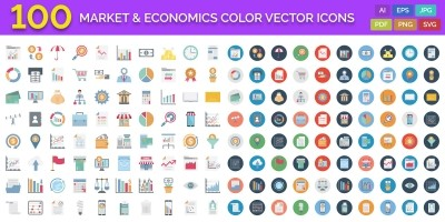 100 Market and Economics Color Vector Icons
