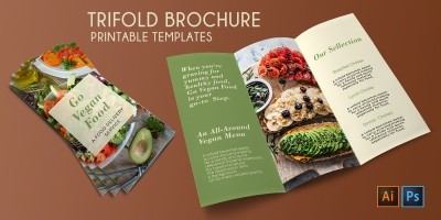 Trifold Vegan Food Brochure - 2 Templates