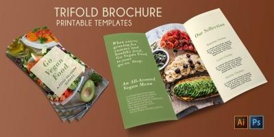 Trifold Vegan Food Brochure - 2 Templates