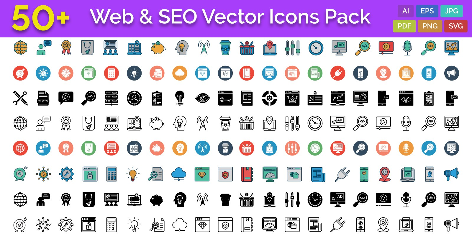 50 Web and SEO Vector Icons pack