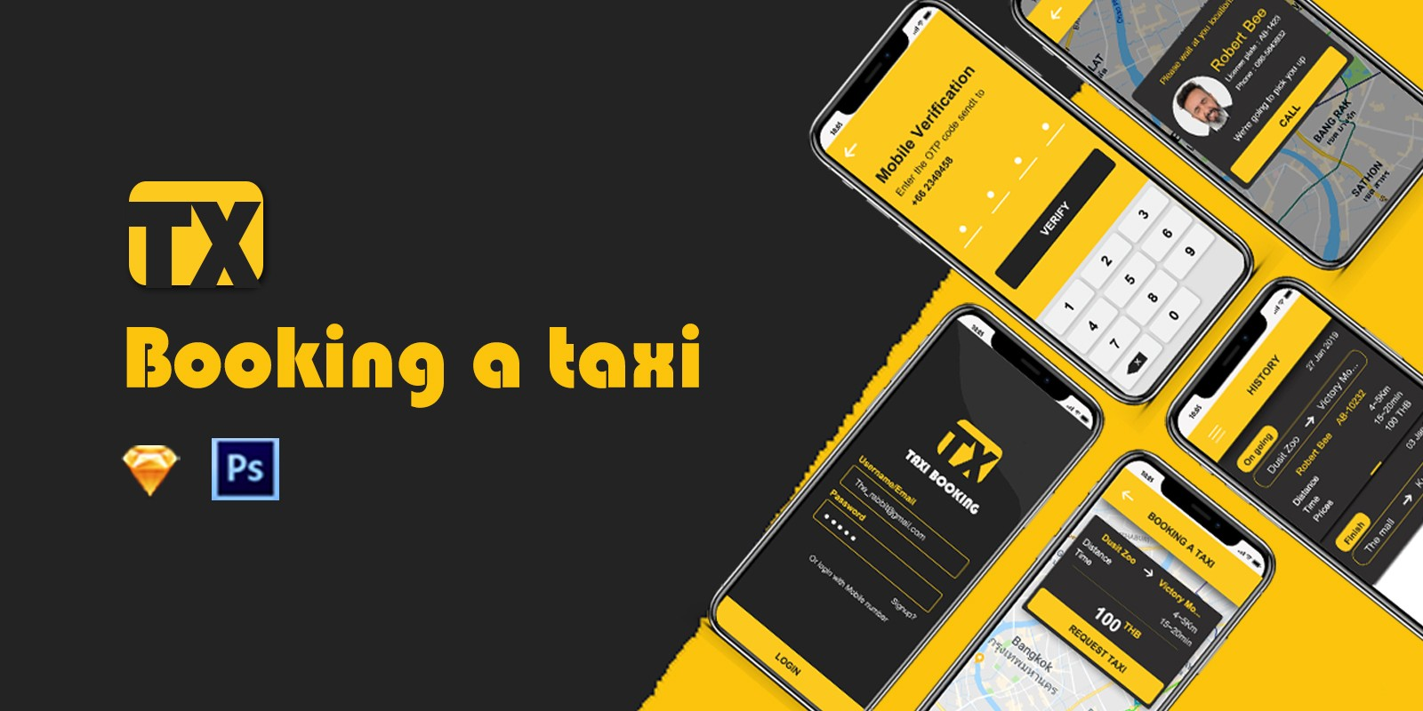TX - Taxi Booking UI Kit PSD