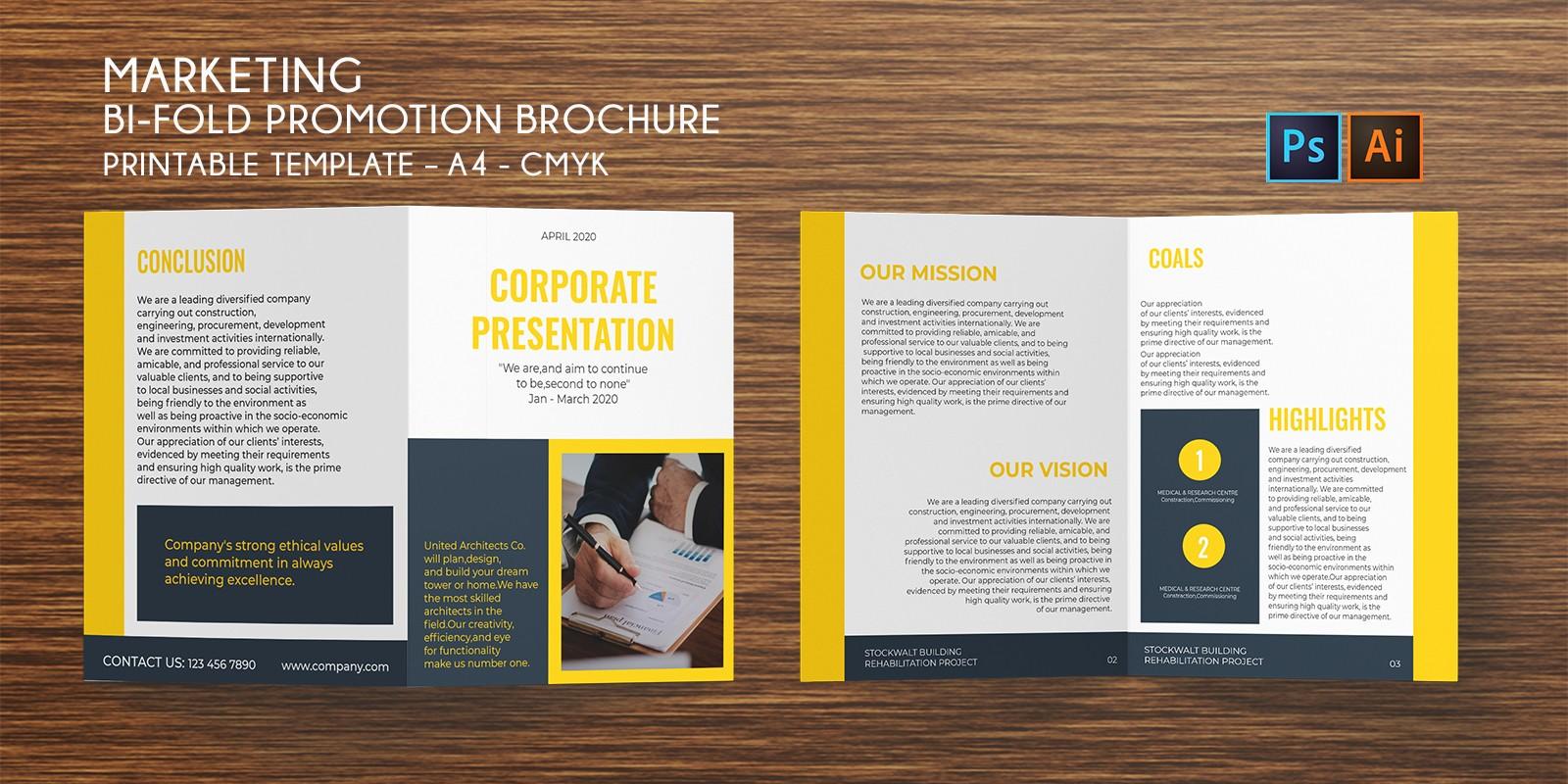 Bi-Fold Marketing Brochure A4  – PSD AI Template