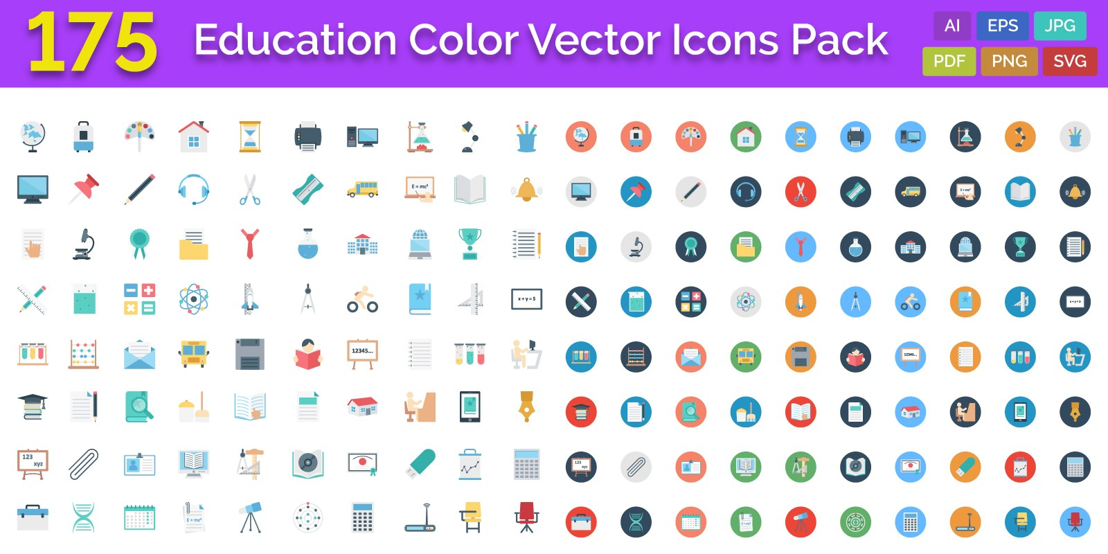 175 Education Color Vector Icons Pack