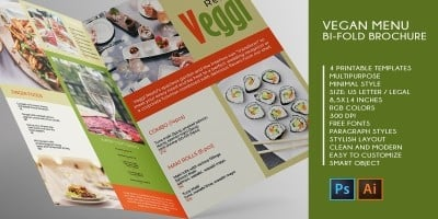 Vegan Menu Bifold Brochure A3 - 2 Templates