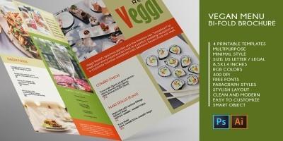 Vegan Menu Bifold Brochure A3 - 2 Templates