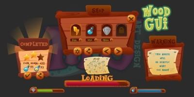 2D Game Wood GUI Kit