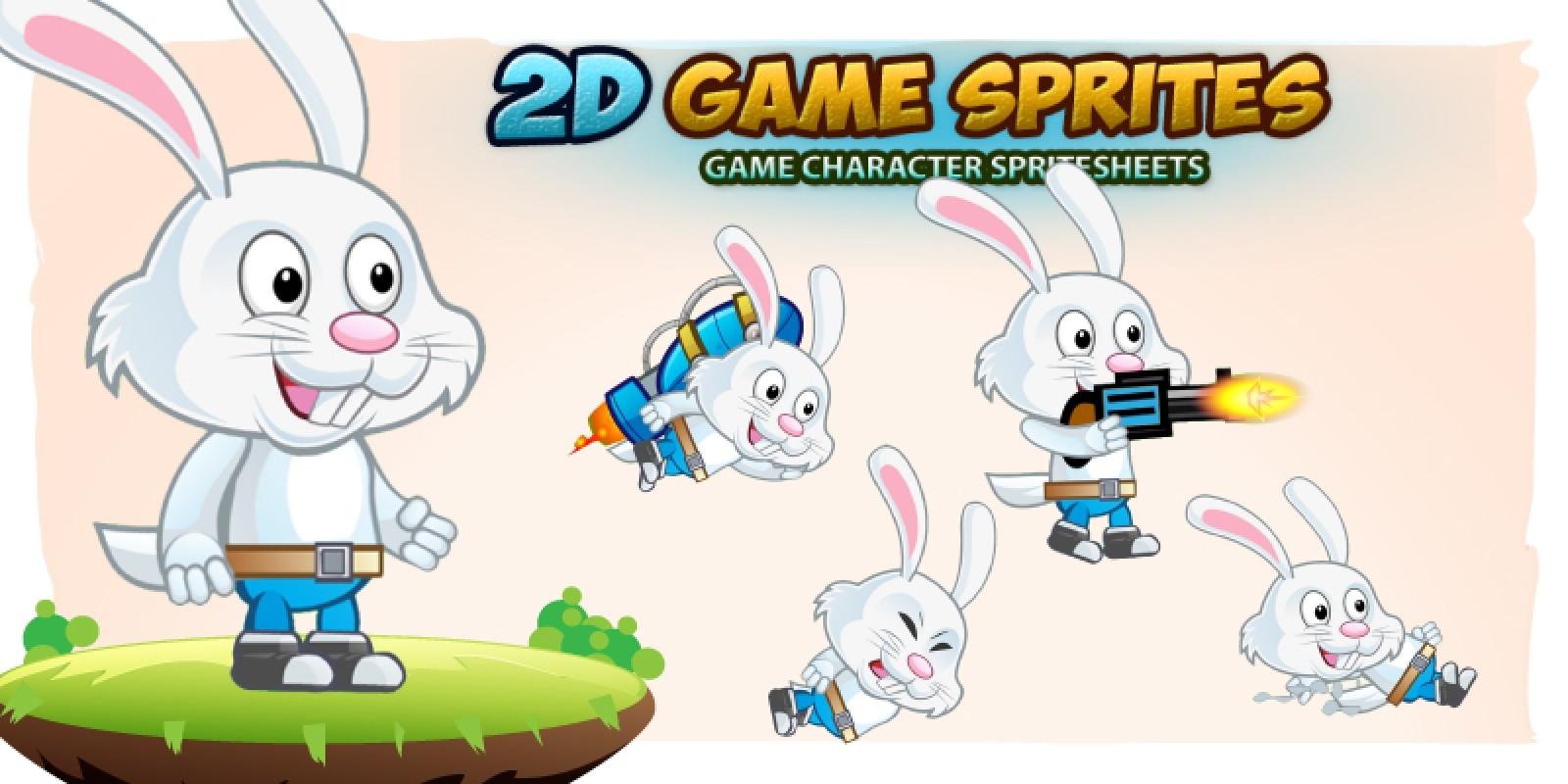 Rabbit 2D Game Character Sprites
