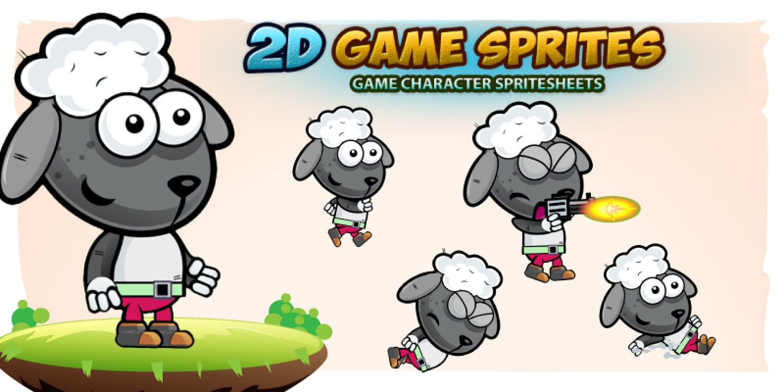 Sheep 2D Game Character Sprites