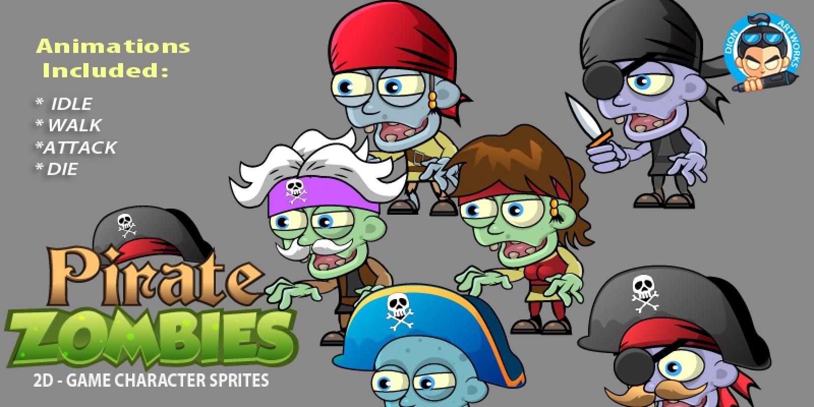 6- Pirates Zombie Character Sprites Set