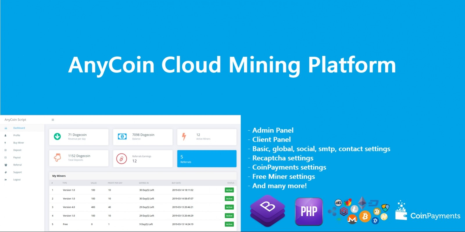 AnyCoin Cloud Mining Script | Codester