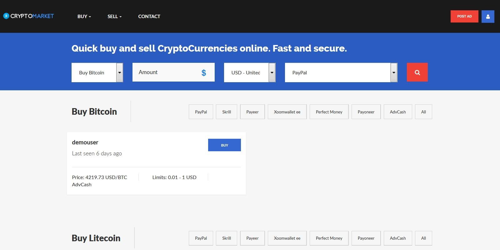 CryptoMarket - Crypto P2P Trading Platform