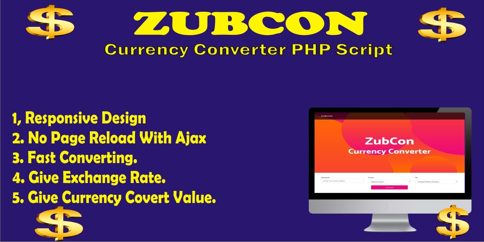 Zubcon Currency Converter PHP