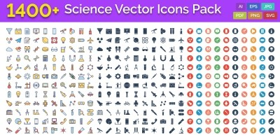 1400 Science Vector Icons Pack