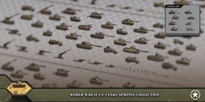 World War 2 US Tanks Sprites Collection