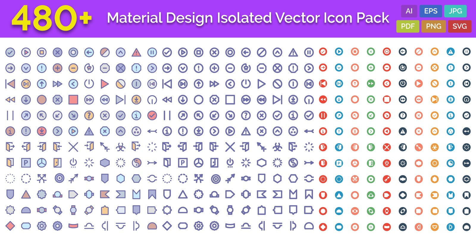 480+ Material Design Isolated Vector Icon Pack