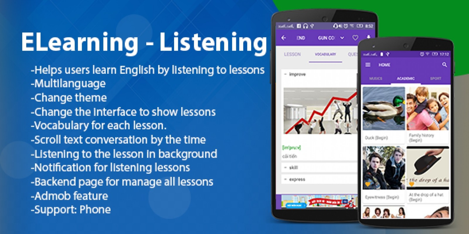 ELearning - Listening Android App With PHP Backend
