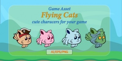 Flying Cats Game Assets