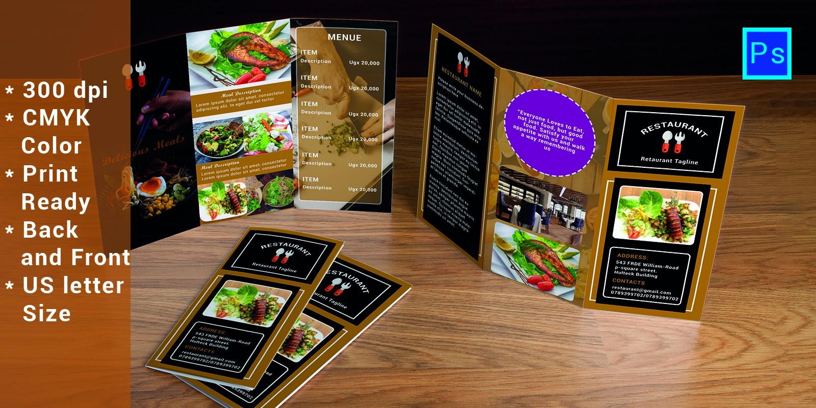 Restaurent Tri-Fold Advertising Brochure