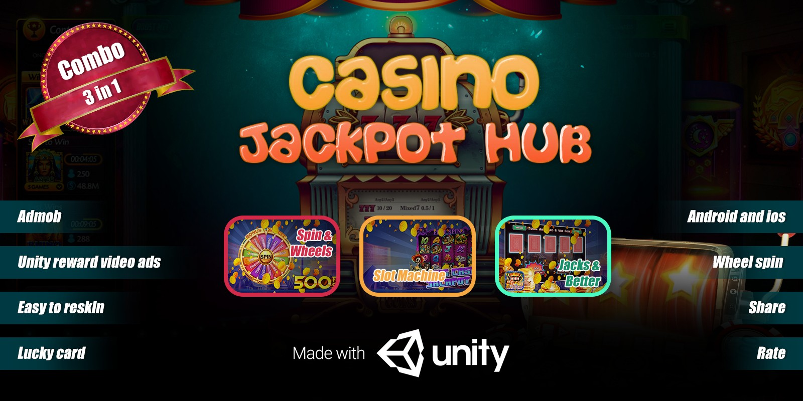 Casino Jackpot Hub - Complete Unity Project