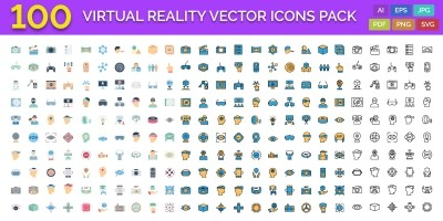 100 Virtual Reality Vector Icons