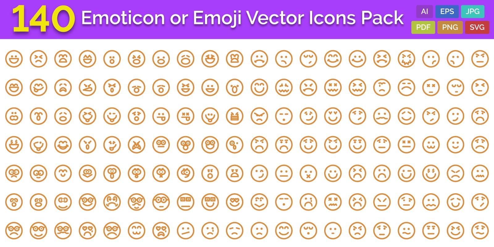 140 Emoticon or Emoji Vector Icons