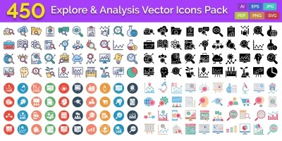 450 Explore And Analysis Vector Icons Pack