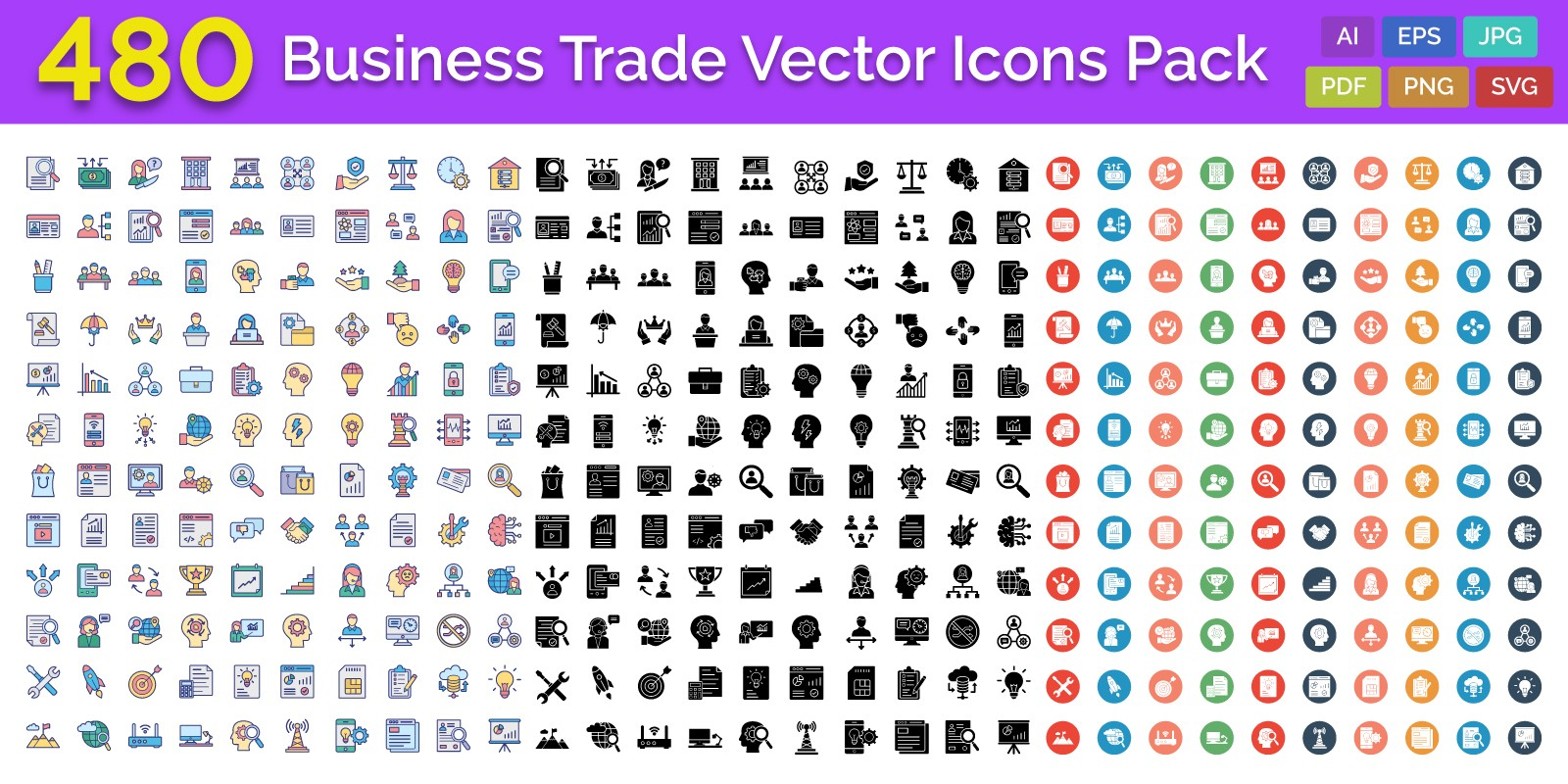 480 Business Trade Vector Icons Pack