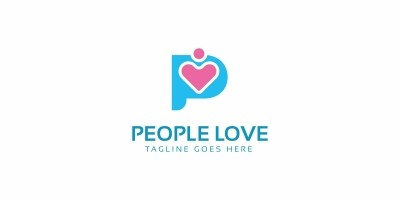 People Love P Letter Logo