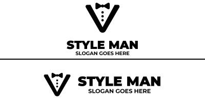 Letter V Man Style Logo