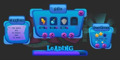 2D Game Blue Cartoon GUI