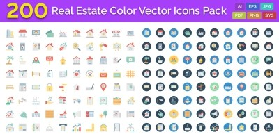 200 Real Estate Color Vector Icons Pack