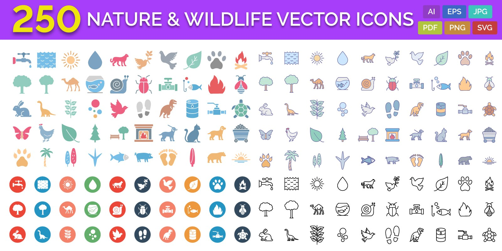 250 Nature & Wildlife Vector Icons