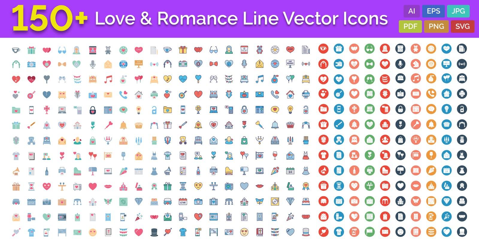 150 LoveAnd Romance Line Vector Icons
