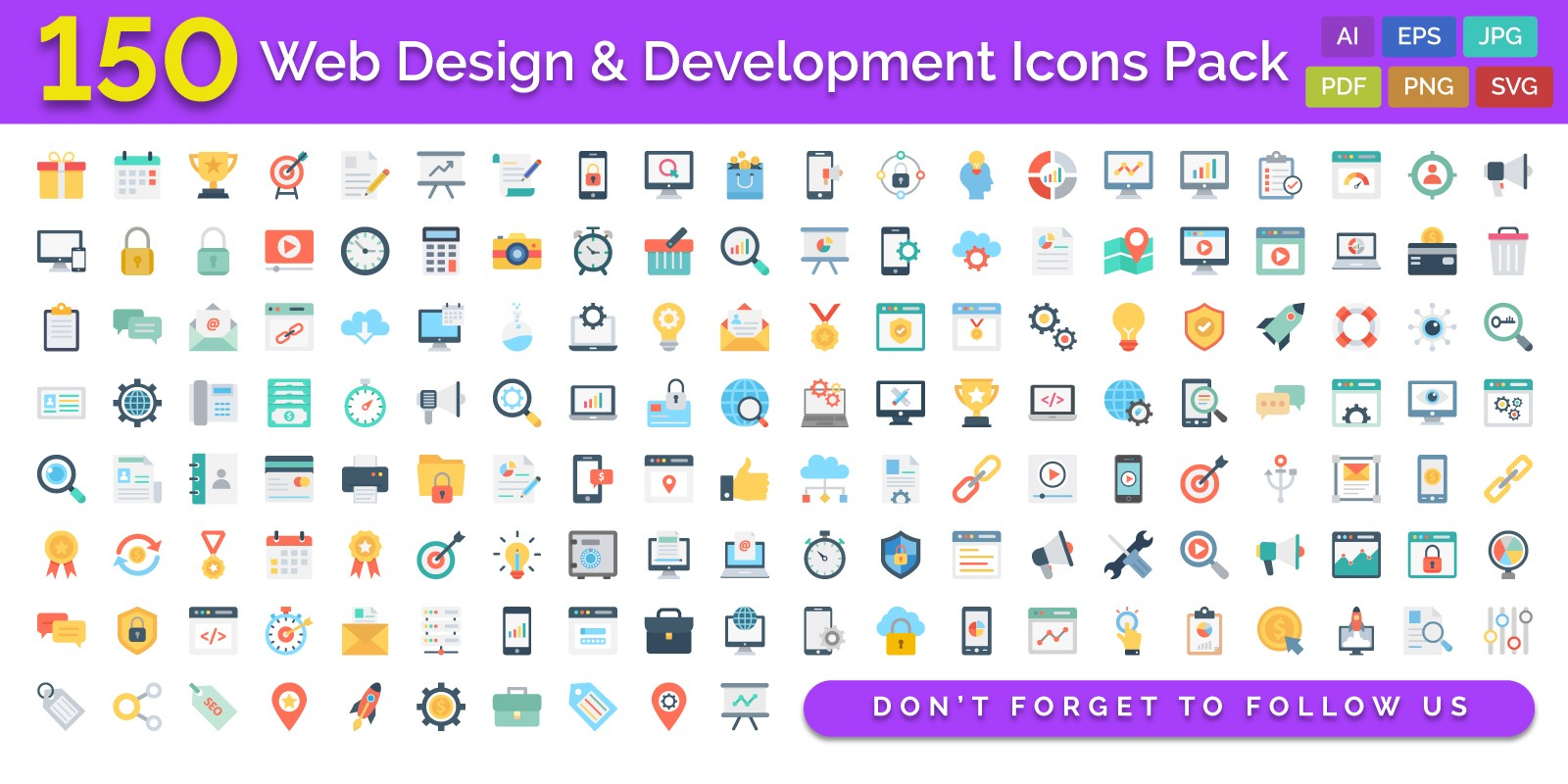 150 Web Design And Development Vector Icons