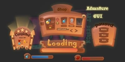 2D Game Adventure Cartoon GUI