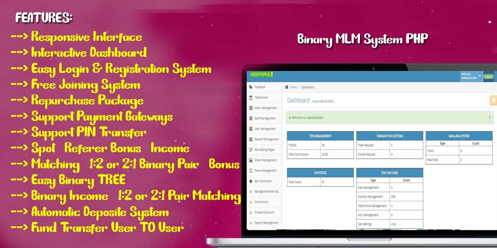 Binary MLM System PHP