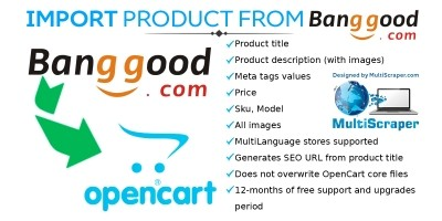 Import product from Banggood - OpenCart Extension